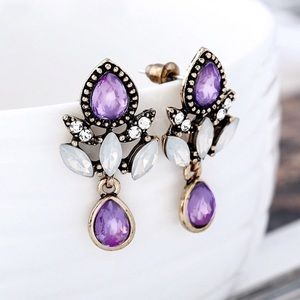 2/$20! Gold Semi Opaque Lavendar Crystal Earrings